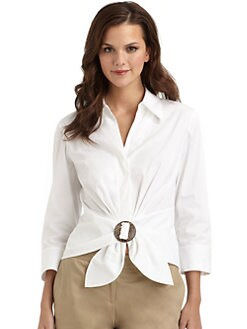 Lafayette 148 New York - Tie-Front Ring Blouse