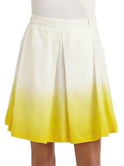 Pink Tartan - Cotton & Silk Ombre Pleated Skirt