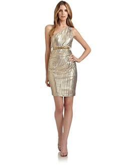 Mark + James by Badgley Mischka - Pleated One-Shoulder Cocktail Dress