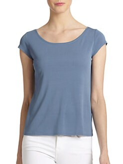 Eileen Fisher - Silk Cap-Sleeve Scoopneck Top