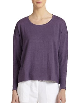 Eileen Fisher - Linen Long-Sleeve Scoopneck Tee