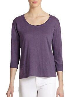 Eileen Fisher - Linen Three-Quarter Sleeve Scoopneck Tee