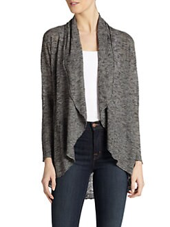 Eileen Fisher - Variegated Knit Drape-Front Long Cardigan