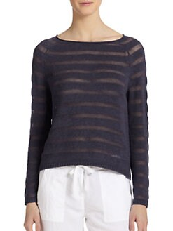 Eileen Fisher - Sheer-Stripe Cotton Boatneck Sweater