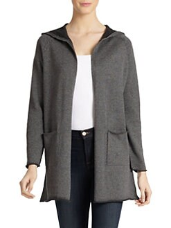Eileen Fisher - Cotton Hooded Open Long Cardigan