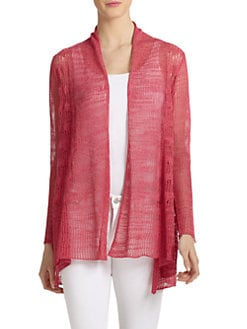 Eileen Fisher - Pointelle Knit Drape-Front Long Cardigan