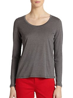 Eileen Fisher - Silk/Cotton Long-Sleeve U-Neck Tee