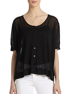 Eileen Fisher - Sheer Short-Sleeve Hi-Lo Cardigan