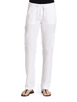 Eileen Fisher - Tencel/Linen Slim-Leg Cargo Pants