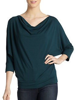 Eileen Fisher - Jersey Draped-Neck Dolman Top