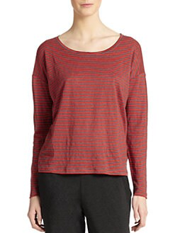Eileen Fisher - Striped Linen Long-Sleeve Scoopneck Tee