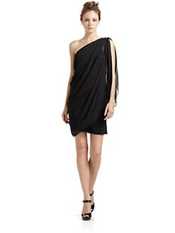 Julie Brown - Chiffon Draped One-Shoulder Cocktail Dress