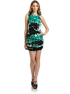 Andrew Marc - Silk Printed Ruched Dress