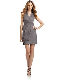 Andrew Marc - Ruched V-Neck Dress