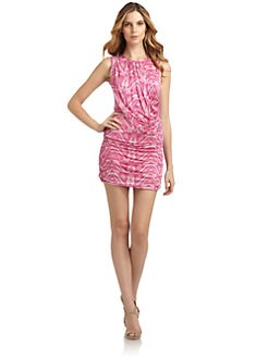 Andrew Marc - Silk Draped Reptile Jersey Dress