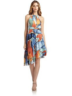 Andrew Marc - Silk Abstract Halter Dress