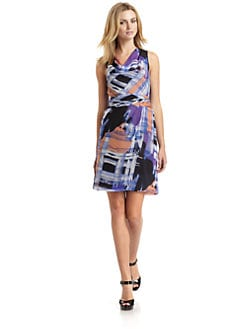 Andrew Marc - Silk Abstract Cowl Dress