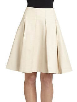 Josie Natori - Hanja Leather Pleated Skirt/Ivory