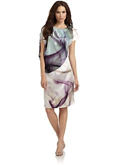 Josie Natori - Putri Silk Satin Asymmetric Abstract Dress