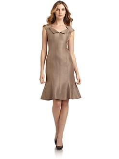 David Meister - Woven Cap Sleeve Dress