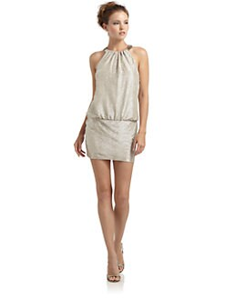 Laundry by Shelli Segal - Beaded Neck Metallic Cocktail Dress
