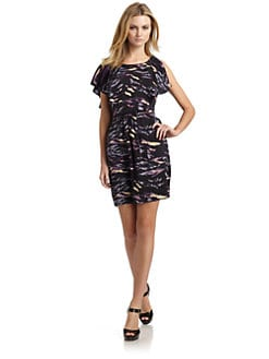 Ali Ro - Satin Abstract Ruffle Dress