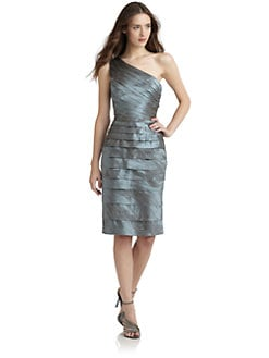 Carmen Marc Valvo - One-Shoulder Tiered Cocktail Dress