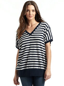 autumn cashmere - Striped Button-Back Tunic