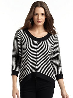 autumn cashmere - Cashmere Striped U-Neck Sweater