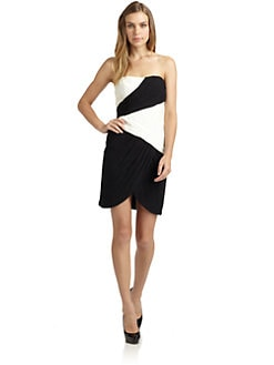 Jill by Jill Stuart - Strapless Colorblock Ruched Chiffon Dress