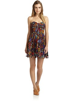 Jill by Jill Stuart - Strapless Ruched Floral Mini Dress