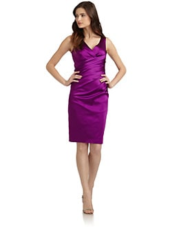 Suzi Chin - Satin Ruched Cocktail Dress