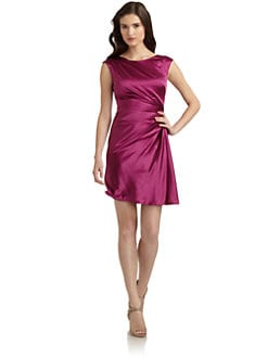 Suzi Chin - Satin Cap Sleeve Cocktail Dress