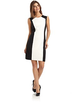 Chetta B - Pleated Colorblock Dress