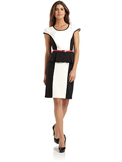 Chetta B - Peplum Colorblock Dress