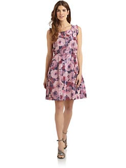 Pink Tartan - Watercolor Floral Taffeta Sleeveless Dress