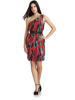 BCBGMAXAZRIA - Printed One-Shoulder Cocktail Dress
