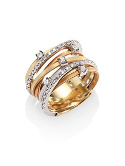 Marco Bicego - Tri-Tone 18K Gold & Diamond Ring