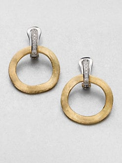 Marco Bicego - Diamond & 18K Gold Hoop Drop Earrings