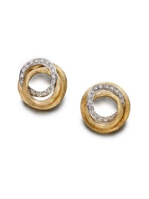 165d2b416 MARCO BICEGO JAIPUR LINK DIAMOND & 18K YELLOW GOLD STUD EARRINGS ...