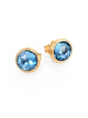 Jaipur Blue Topaz & 18K Yellow Gold Stud Earrings