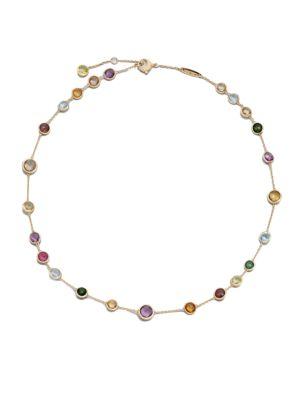 Jaipur Mini Semi-Precious Multi-Stone 18K Yellow Gold Station Necklace