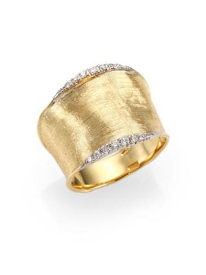 Lunaria Diamond & 18K Yellow Gold Band Ring