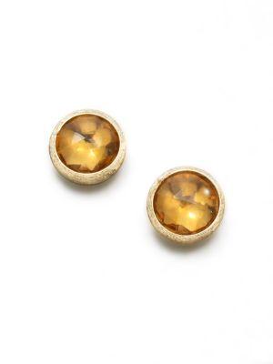 Jaipur Citrine & 18K Yellow Gold Stud Earrings