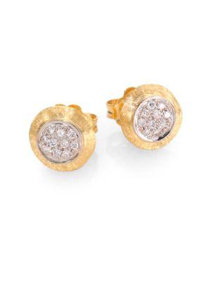 Delicati Diamond, 18K Yellow & White Gold Stud Earrings