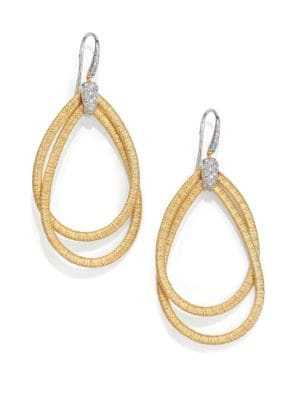 Cairo Diamond & 18K Yellow Gold Large Double Teardrop Earrings