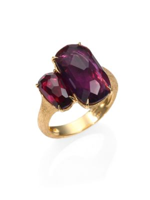 Murano Amethyst, Rhodolite Garnet & 18K Yellow Gold Cocktail Ring