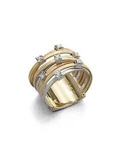 Marco Bicego - Diamond & Tri-Tone Gold Ring/Seven Row