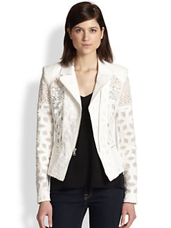 BCBGMAXAZRIA - Boe Embroidered Netted Moto Jacket