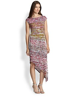 BCBGMAXAZRIA - Jennifer Printed Stretch Jersey Asymmetrical Dress